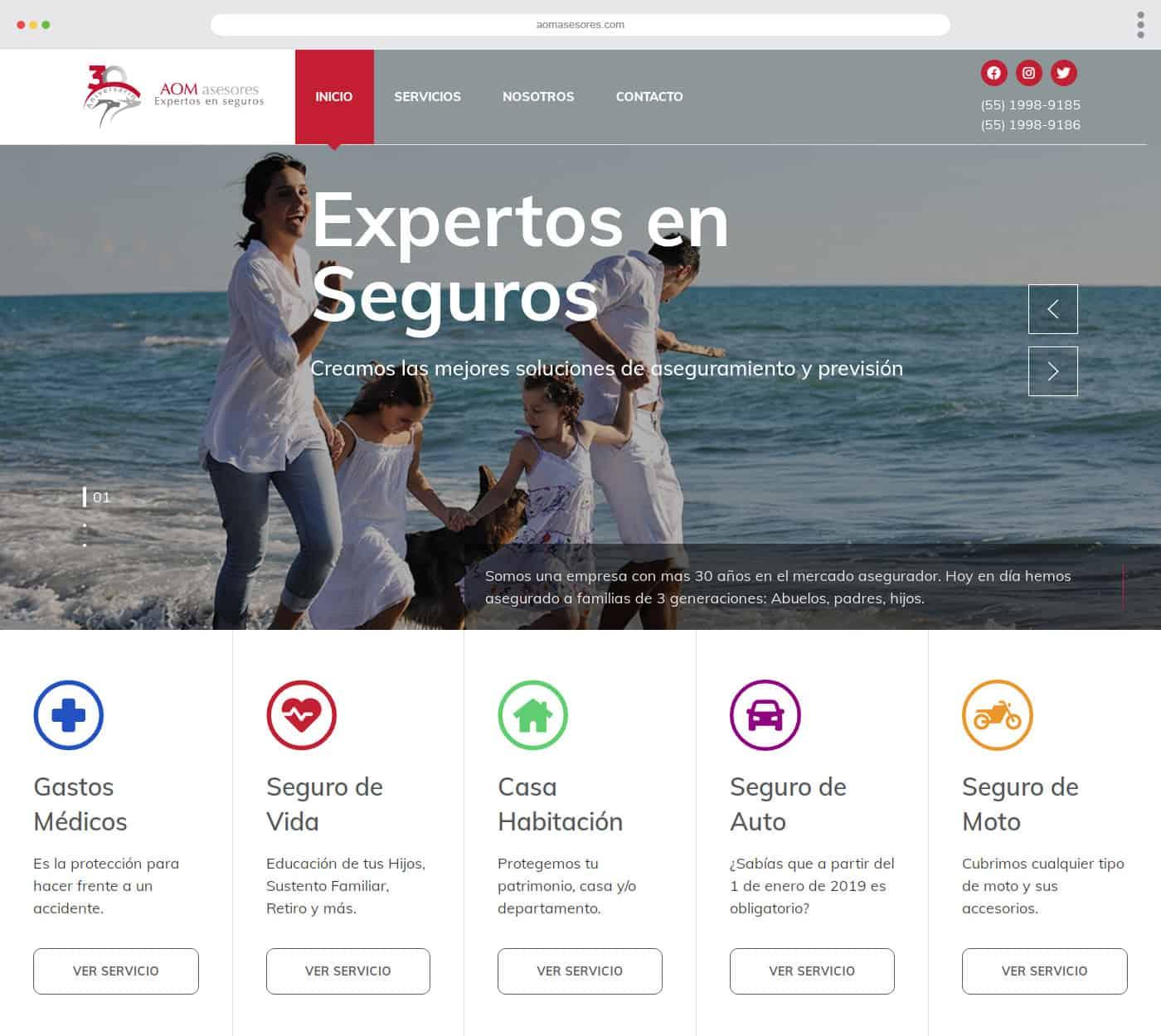 Diseño Web AOM Asesores Seguros